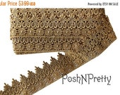 "25% OFF TILL11/25 3"" Vintage Gold Lace netting trim Crown photo prop elegant"