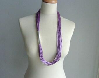 Purple silver tube necklace, long purple necklace