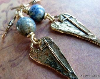 Beloved* Organic Earrings Heart Earrings Earthy Rustic Jewelry Lapis Blue Soft Brown Stone Earrings Gold Bronze Faith Inspired Earrings