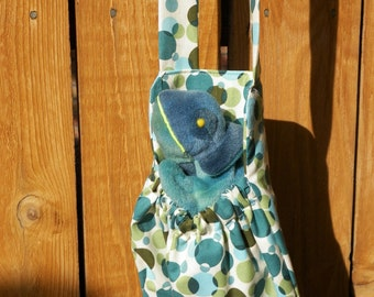 Gift for Kids Blue Green Chameleon and Dots Stuffed Animal Carrier