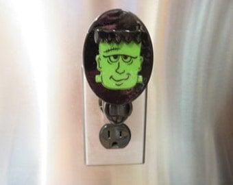 Frankenstein Night Light - Halloween Nightlight - Black & Green Oval Frankenstein Night Lite