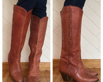70s Cobbie Cognac Tan Braided Leather Tall High Heel Cowboy Boots, Size 8