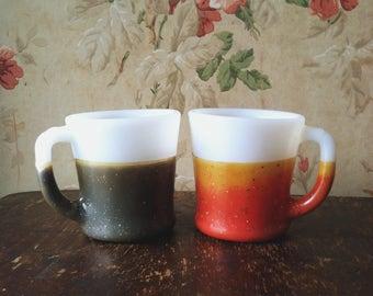 Vintage Fire King Glamalite Glitter Coffee Mugs