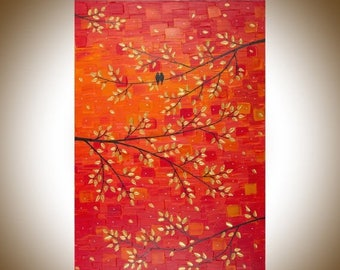 """Large wall art red gold leaves tree love birds art wall decor Palette Knife Canvas art """"Autumn Romance""""by qiqigallery"""