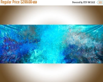 "Abstract painting 72"" Extra large wall art blue turquoise grey white original art wall decor gift for men ""The Universe"" by QiQiGallery"