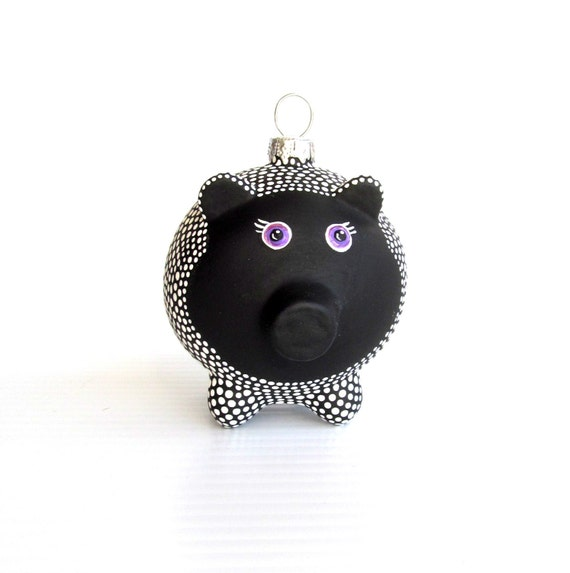 Piggy Ornament: Hand painted Glass Piggy ornament Black and White Piggy
