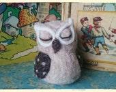 Needle felted sleeping owl