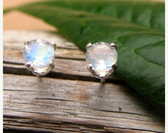 Blue Moonstone Stud Earrings in Gold, Silver, or Platinum with Genuine Gems, 4mm - Free Gift Wrapping