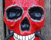 RESERVED FOR RICCO Sugar Skull Day of the Dead doorknocker hand painted