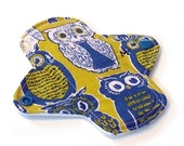 "Reusable Cloth Menstrual pad- 6 inch MEDIUM flow pantyliner-bamboo/organic cotton core- PUL - quilter's cotton in ""Retro Owl"""