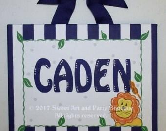 Jungle animal, canvas name sign, personalized, hand painted, safari art, boys jungle art, lion, jungle nursery art, nursery wall art, navy