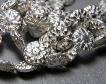 Czech Antique Silver Dahlia Flat Flower Glass Beads 14.5mm (10)