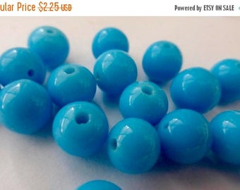 On Sale Vintage Japanese Handmade Sky Blue Round Glass Beads 8mm (12)