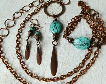 Southwest Summer Copper Wire-Wrapped Necklace