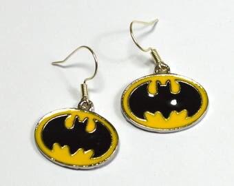 Batman Logo Silver Nickel Free Geeky Dangle Earrings