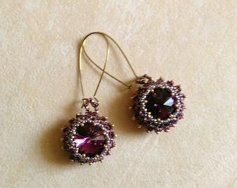 Beadwoven Swarovski Purple Rhinestone Earrings 15mm . Gold plated . Pierced earrings- Romantic Beadweaving Elegance by enchantedbeas on Etsy
