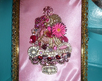 Gorgeous Vintage Inspired OOAK Pink Framed Jewelry Christmas Tree Small Size