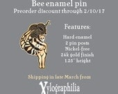Bee enameled artist lapel pin PREORDER ships late March