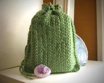 Tarot pouch / tarot bag / drawstring knit tarot bag / rune bag / tarot card holder / green tarot pouch / knitted tarot bag / oracle card bag
