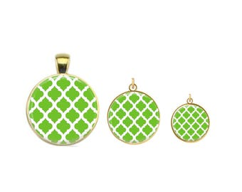 Green Tiles Charm, Moroccan Tile, Clover Pattern, Green, White, Glass Charm, Silver, Gold