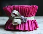 RUFFLE SALE 20% OFF Vintage Berry Crepe Paper Ruffle - 2 Inch  Romantic Wedding Garland - Valentine Paper Scrapbooking Trim