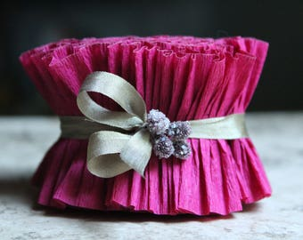 Vintage Berry Crepe Paper Ruffle - 2 Inch Romantic Wedding Garland - Valentine Paper Scrapbooking Trim - Handmade Vintage Paper Ruffled Trim