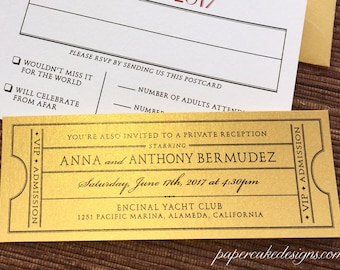 Vintage Ticket Wedding Enclosure Card / Reception Rehearsal Dinner Brunch Invite