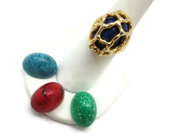 Vintage Trifari Cage Ring - Interchangeable Stones - Brutalist