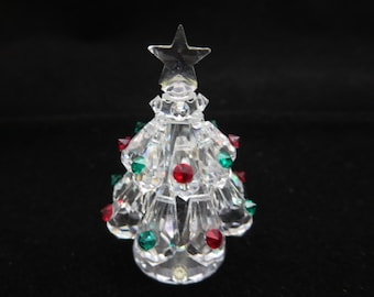 Crystal Christmas Tree Figurine - Clear, Red Green Accents