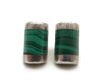 Malachite Earrings - Sterling Silver, Artist J Comes, Taxco Mexico, Art Deco Jewelry