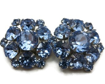 Pale Blue Rhinestone Earrings - 1950s Costume Jewelry