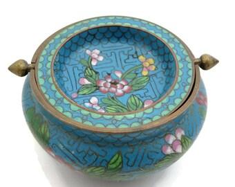 Cloisonne Ashtray - Flip Top Tray, Chinese Enamel, Blue