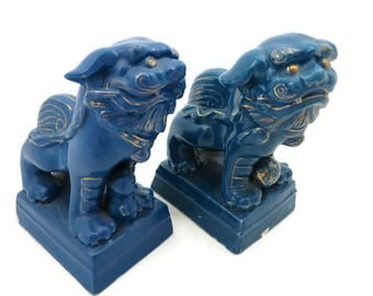 Foo Dog Figurine Pair - Turquoise Blue Porcelain, AS IS