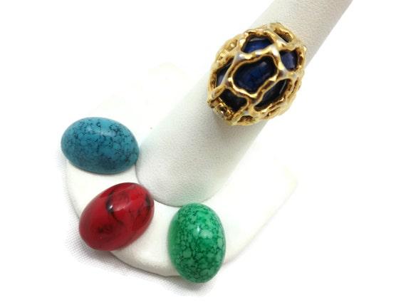 vintage trifari cage ring interchangeable stones brutalist