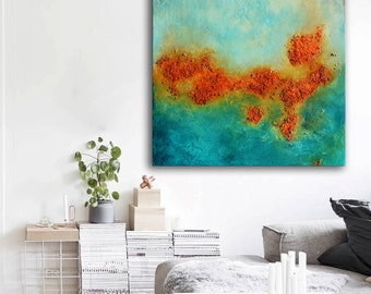 Acrylic modern painting on canvas, abstract art, orange aqua blue painting , lobby art, office painting, living room wall art, textured art