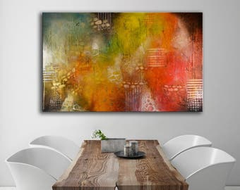 Original painting red orange green, Acrylic modern art painting, abstract painting, circles stripes rectangle painting, dining room decor