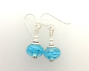 Earrings Lamp Work Turquoise Filigrana Glass and Sterling Silver #c