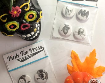 Halloween Pinback Button //Spooky Retro Designs