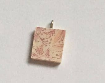 Scrabble Tile Necklace - Peach Floral Necklace - Scrabble Tile Pendant - Party Favors - Teacher Gift - Birthday Gift - Hostess Gift