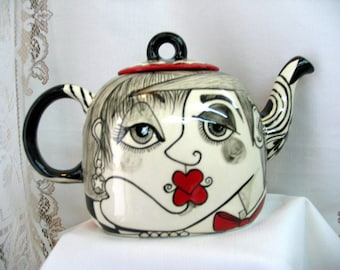 Square Ceramic TEAPOT Hand Painted Black, White & Red Picasso Style Lovers Faces on ETSY