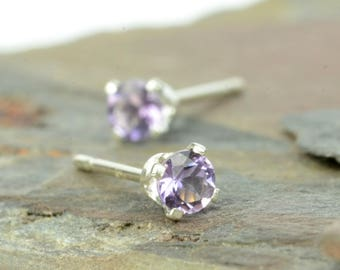 Amethyst earrings, tiny amethyst stud earrings, 3mm, 4mm, purple gemstone earrings, stud earrings, birthstone jewellery, birthstone earrings