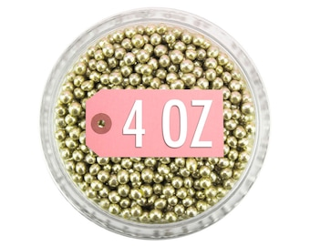 Light Gold Dragees 2mm 4oz - shiny metallic gold sugar pearls sprinkles balls for topping cakes, cupcakes, cookies, and cake pops