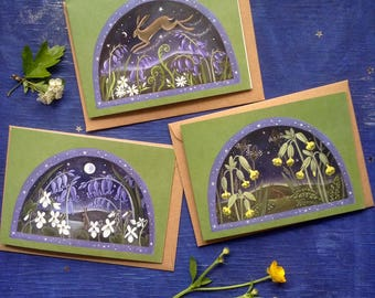 Spring Green Hares. x3 Greeting Cards With Envelopes Featuring Hares/Wildflowers/ By Karen Davis