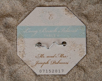 Beach Badge Wedding Place Cards | Beach Tag Escort Cards | Formal Wedding Seating Cards Deposit
