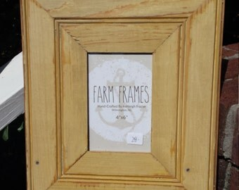 4 x 6 YELLOW old vintage wood picture frame