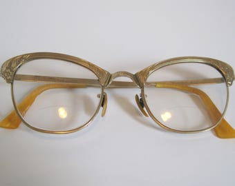 Vintage Retro Fancy Cat Eye Glasses  12 K GF