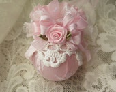 Shabby Chic  Pink Rose and White Vintage Doily Ball Christmas Ornaments Vintage Chic Shabby Shabby Chic Home Decor Christmas