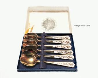 Vintage Miniature Tea Spoons, Brass / Enamel Siam Dancer