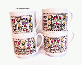 Vintage Royal Doulton Coffee Cup / Teacup Set of 4, FIREGLOW Fine English China, Tulip Flowers
