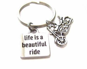 "RESERVED WITH WING Stainless Steel ""Life Is A Beautiful Ride"" Square Charm, Motorcyle Charm Keychain, Bag Charm, Zipper Pull"